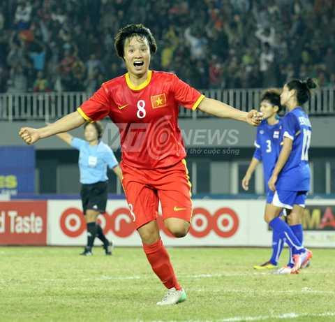Chờ Minh Nguyệt một lần nữa chọc thủng lưới Thái Lan. (Ảnh: Hà Thành)