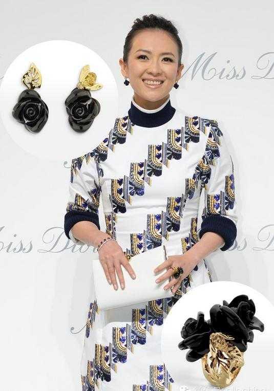 Cũng   dịp tháng 4.2015, Chương Tử Di tham dự một sự kiện của thương hiệu Dior   ở Bắc Kinh. Nữ diễn viên đeo nhẫn và bông tai dòng Rose Dior Pré   Catelan cùng chiếc vòng ruby đỏ.