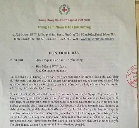 Đơn trình bày của Trung tâm nhân đạo Quê hương gửi đến Báo điện tử VTC News.