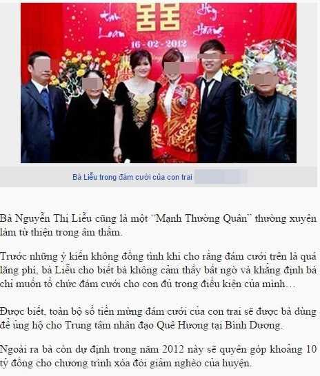 Sự kiện bà Liễu hứa tặng toàn bộ tiền mừng cưới của con trai cho Trung tâm nhân đạo Quê Hương được đăng tải nhiều trên báo chí