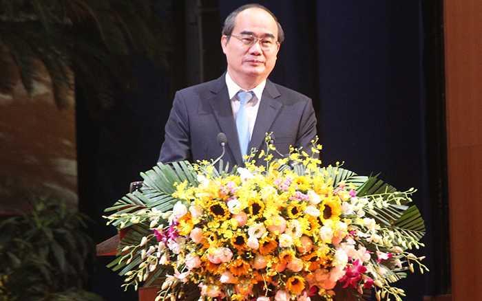 Đồng chí Nguyễn Thiện Nhân - Ủy viên Bộ Chính trị, Chủ tịch Ủy ban Trung ương Mặt trận Tổ quốc Việt Nam phát biểu tại buổi lễ (Ảnh: Phạm Thịnh)