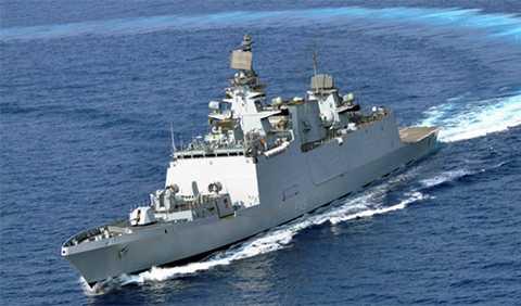Chiến hạm hộ vệ đa nhiệm tàng hình INS SAHYADRI của Hải quân Ấn Độ sẽ đến Đà Nẵng trễ hơn dự kiến do vướng bão Dujuan