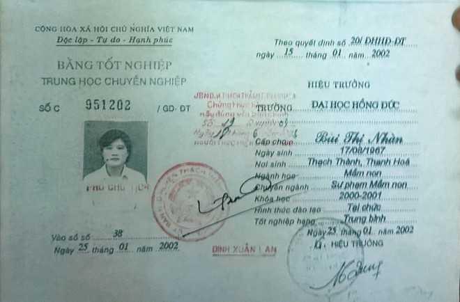Bằng tốt nghiệp trung học chuyên nghiệp của bà Nhàn được cấp tháng 1/2012. Ảnh: N. D.