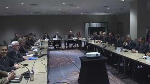 Quang cảnh buổi họp cấp bộ trưởng Hiệp định Đối tác Kinh tế Chiến lược Xuyên Thái Bình Dương TPP ngày 2/10 - Ảnh: TBS