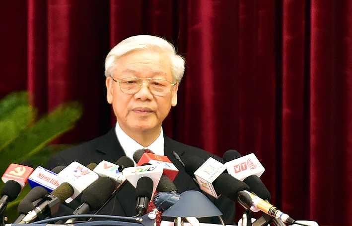 Tổng Bí thư Nguyễn Phú Trọng phát biểu khai mạc Hội nghị Trung ương lần thứ 12 (khóa XI). Ảnh: VGP/Nhật Bắc