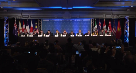 Quang cảnh buổi họp báo công bố kết quả về việc ký kết hiệp định TPP