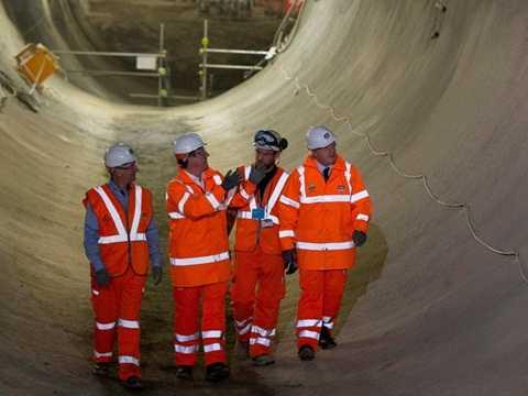 David Cameron Boris Johnson thăm công trình thi công nhà ga Crossrail Farringdon