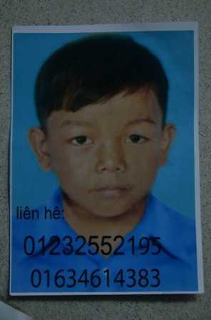 Hình ảnh bé trai lúc chưa mất tích (người nhà cung cấp)