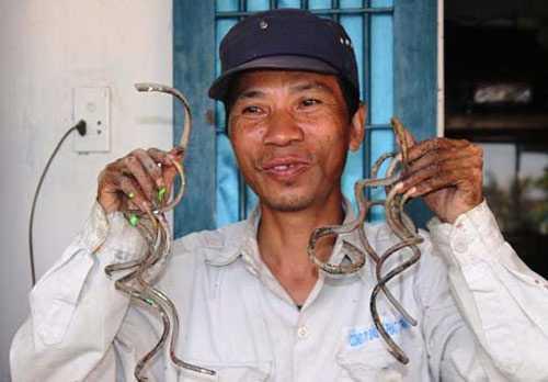 Những móng tay dài được ông Lưu Công Huyền nuôi dưỡng 35 năm nay