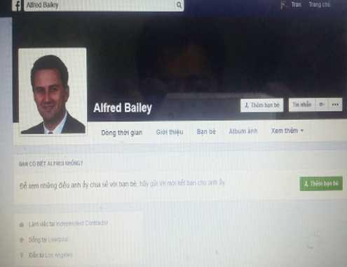 Facebook với ảnh đại diện mang tên Alfred Bailey được cho là đã lừa đảo nhiều phụ nữ. Ảnh: C.A.