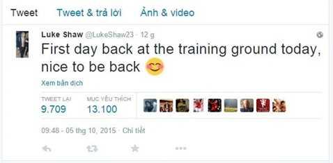 Dòng chia sẻ của Luke Shaw trên Twitter