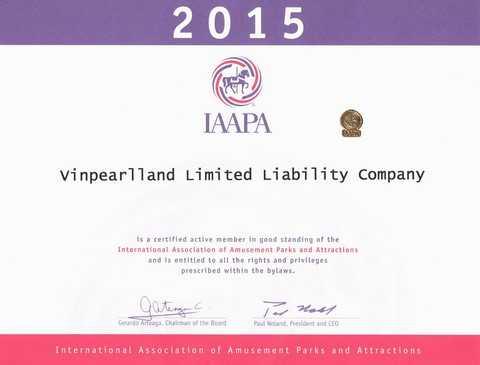 Chứng nhận của Hiệp hội IAAPA