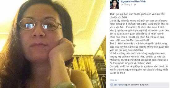 Dòng trạng thái của cô Vinh được chia sẻ rộng rãi trên mạng xã hội