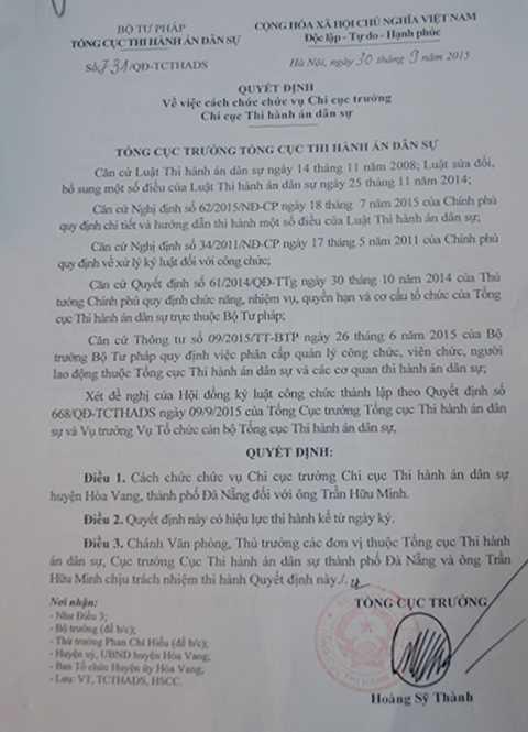 Quyết định cách chức đối với Chi cục trưởng Chi cục Thi hành án dân sự huyện Hòa Vang.