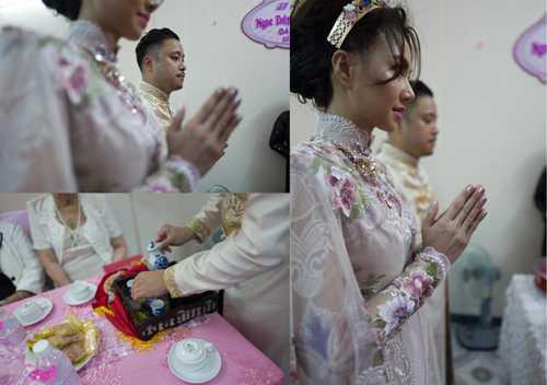 Khi làm lễ, Đinh Ngọc Diệp choàng áo khoác che phần lưng quyến rũ
