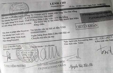 Lệnh chi trả số tiền hơn 37 tỷ đồng tài trợ cho Bệnh viện của Giám đốc Trịnh Lương Trân