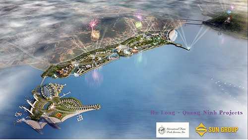 Trong những năm qua, Quảng Ninh đã thu hút được các tập đoàn lớn trong nước và nước ngoài đầu tư phát triển sản xuất, kinh doanh, dịch vụ - Ảnh: Sơ đồ bản vẽ thiết kế tổng thể Công viên Đại dương, bên bờ vịnh Hạ Long (phường Bãi Cháy), do Tập đoàn Sungroup làm chủ đầu tư, với tổng số vốn lên đến trên 6.700 tỷ đồng, khởi công xây dựng từ năm 2014.
