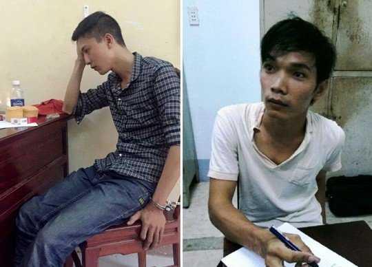 Hai bị can gây ra thảm án giết 6 người ở Bình Phước, gồm Nguyễn Hải Dương (trái) và Vũ Văn Tiến tại cơ quan công an.