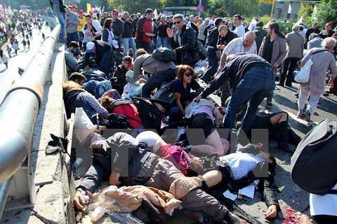 Người thương vong nằm la liệt sau vụ đánh bom ở Ankara, Thổ Nhĩ Kỳ hôm 10/10