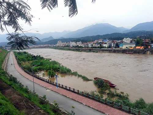 Nhiều vườn rau và hoa màu của người dân ở hai bên bờ sông bị nhấn chìm trong nước - Ảnh: Hồng Thảo