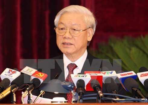 Tổng bí thư Nguyễn Phú Trọng phát biểu tại lễ bế mạc Hội nghị trung ương. Ảnh: TTXVN
