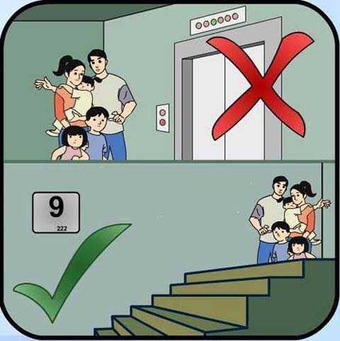 Lúc xảy ra hỏa hoạn tuyệt đối không dùng thang máy.