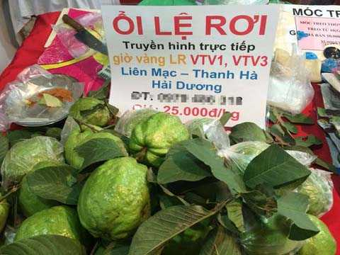 Ổi Lệ Rơi được trưng bày và bán tại hội chợ tại Hà Nội với giá 25.000 đồng/kgHà Nội