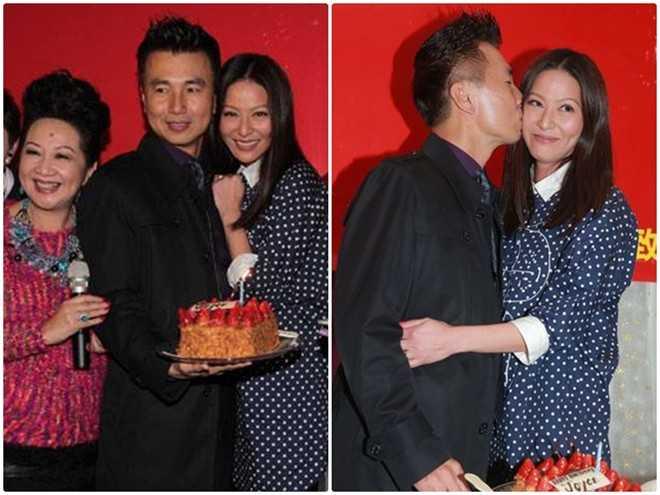 Chồng Đằng Lệ Minh bất ngờ chúc mừng sinh nhật vợ tại phim trường.
