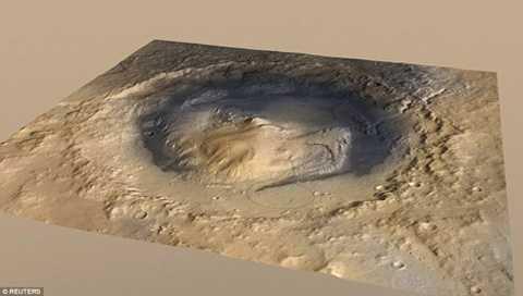 Miệng núi lửa Gale Crater - nơi được dự đoán là từng có nước. (ảnh: Reuters)