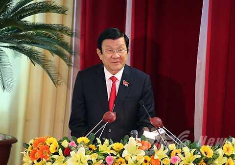 Chủ tịch nước Trương Tấn Sang phát biểu chỉ đạo tại Đại hội Đảng bộ TP Đà Nẵng lần thứ XXI