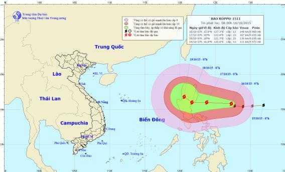 Vị trí và đường đi dự kiến của cơn bão Koppu (Ảnh: Trung tâm DBKTTVTƯ)