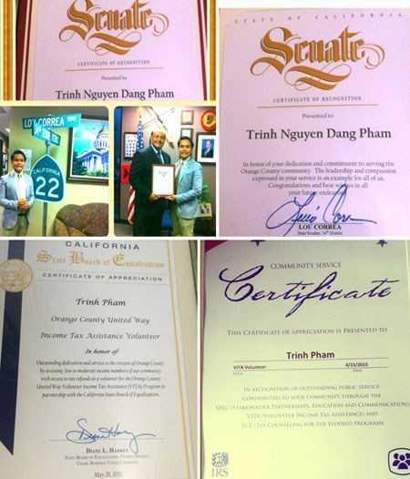 Phạm Nguyễn Đăng Trình nhận được nhiều bằng khen, học bổng cho thành tích học tập và hoạt động vì cộng đồng ở quận Cam (bang California, Mỹ)