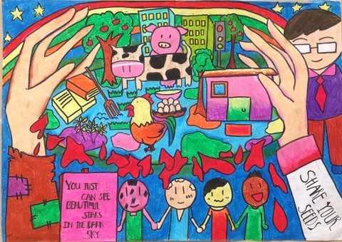 """Đặc biệt, rất nhiều tác giả nhí trong Triển lãm đã thể hiện suy nghĩ sâu sắc khi tập trung đưa ra những giải pháp gốc rễ của vấn đề, trong đó nhấn mạnh tới việc phổ cập giáo dục, nâng cao tri thức cho người nông dân. Bức tranh """"Share your seeds"""" của Nhật Vy, học sinh lớp 8A3 đã gây ấn tượng với người tham quan triển lãm khi thể hiện mong muốn trao cho người nông dân những """"hạt mầm"""" của sự ấm no là cơ hội học tập, thu nạp kiến thức để người nông dân làm chủ việc sản xuất ra nguồn lương thực thực phẩm. """"Để biết cách sản xuất ra nhiều hơn lúa gạo, phát triển nông nghiệp và có một cuộc sống tốt đẹp hơn thì người nông dân cần được học tập nhiều hơn. Gốc rễ của đói nghèo là đói nghèo về tri thức"""" Nhật Vy chia sẻ."""