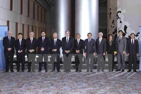 Trưởng đoàn các nước tham gia đàm phán TPP chụp ảnh chung tại hội nghị tại Atlanta ngày 1/10. (Nguồn: Reuters/TTXVN)