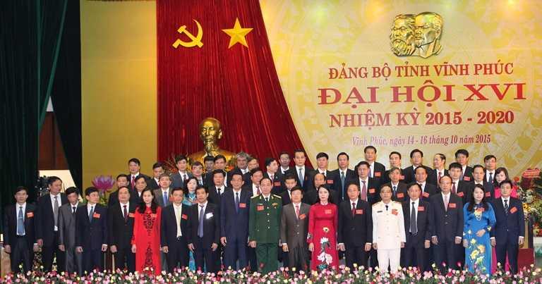 Ban Chấp hành Đảng bộ tỉnh Vĩnh Phúc khóa XVI ra mắt. Ảnh: Cổng TTĐT Vĩnh Phúc