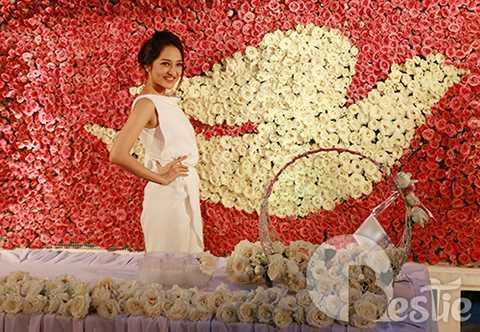 Bảo Anh tạo dáng xinh đẹp bên biểu tượng chú chim bồ câu trắng được kết hợp từ 27.000 đóa hoa hồng xinh tươi.