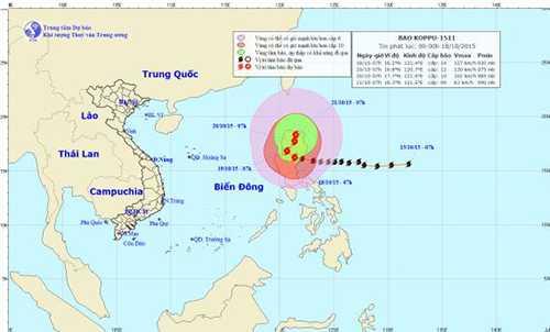 Đường đi và vị trí bão Koppu
