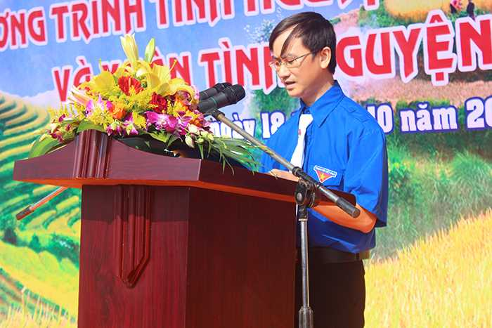 Anh Vi Mạnh Phúc (Chủ nhiệm CLB thầy thuốc trẻ huyện Đình Lập, Lạng Sơn) phát biểu tại chương trình.
