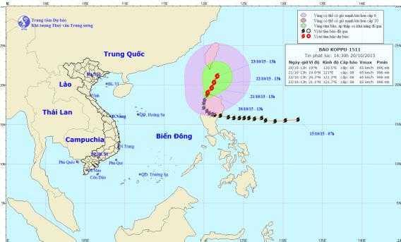 Vị trí và đường đi dự kiến của bão Koppu (Ảnh: Trung tâm DBKTTVTƯ)