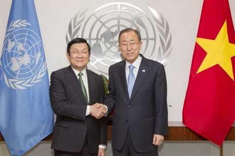 Chủ tịch nước Trương Tấn Sang hội kiến với Tổng Thư ký Liên hợp quốc Ban Ki Moon nhân chuyến dự Hội nghị thượng đỉnh Liên Hợp Quốc - Ảnh: U.N