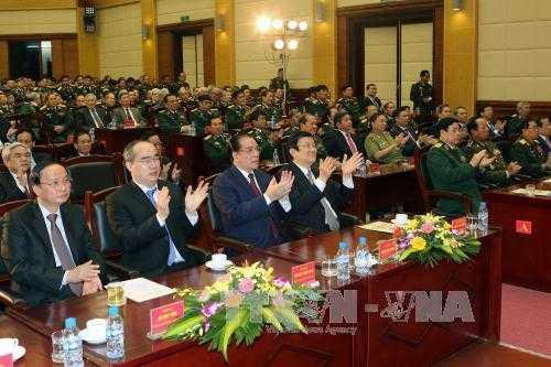 Các đồng chí lãnh đạo Đảng, Nhà nước và các đại biểu dự lễ kỷ niệm. Ảnh: TTXVN