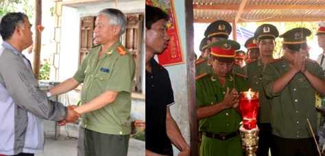 Giám đốc CA tỉnh Gia Lai (trái) chia buồn cùng gia đình trung úy Nay Plong và các cán bộ chiến sỹ đến thắp hương trước linh cữu đồng đội