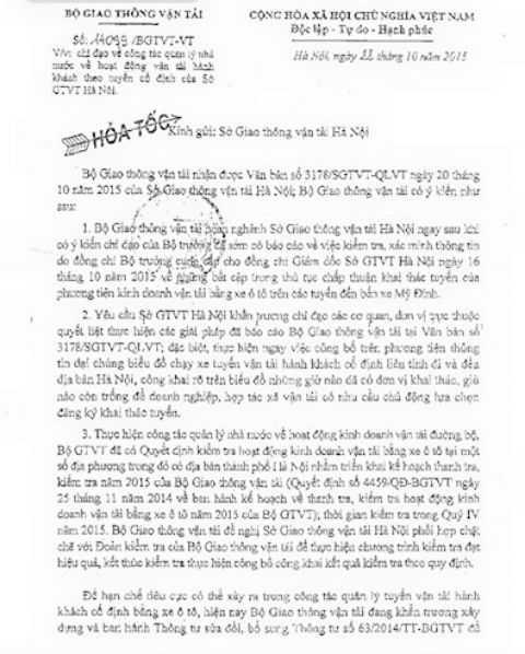 Công văn hỏa tốc của Bộ GTVT gửi Sở GTVT Hà Nội.