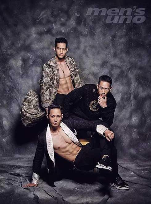 Ba anh em họ Lưu khoe thân hình 6 múi săn chắc trên một tạp chí thời trang nam.