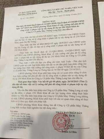 Thông báo xử lý vi phạm trật tự xây dựng của UBND phường Minh Khai
