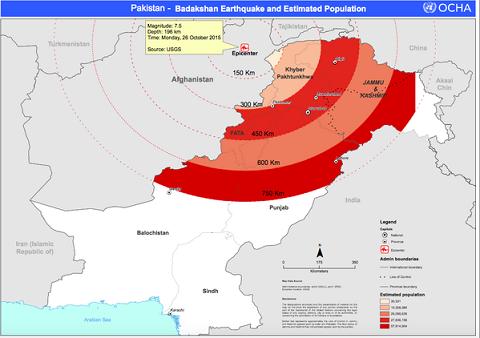 Bản đồ thể hiện tâm chấn động đất7,5 độ Richterở khu vực Nam Á