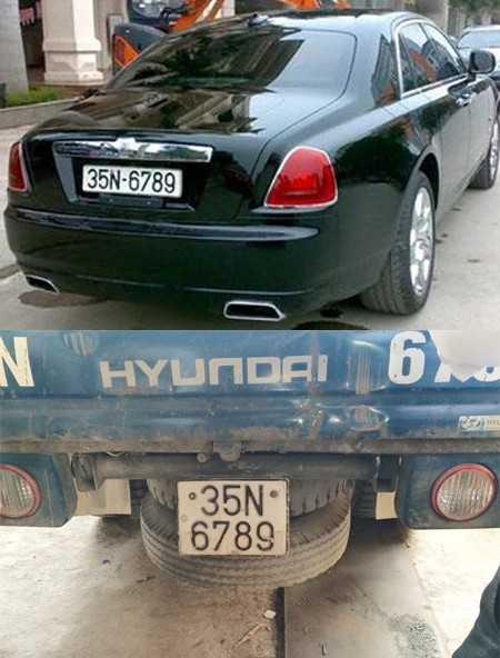 Cảnh sát xác định biển số 35N-6789 được cấp cho ôtô tải Huyndai, chiếc Rolls-Royce đeo biển giả.