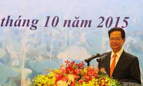 Thủ tướng Nguyễn Tấn Dũng tại hội nghị ngành ngoại giao sáng nay. Ảnh: Việt Anh/Vnexpress