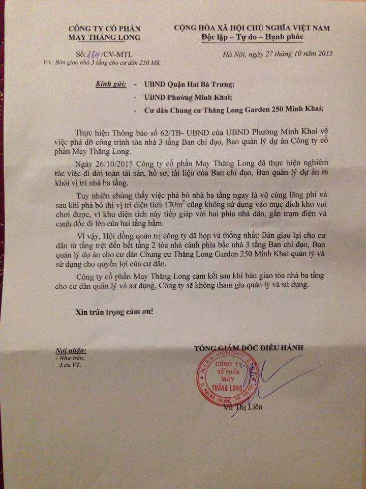 Văn bản xin bàn giao công trình sai phạm cho cư dân của Công ty CP May Thăng Long. Ảnh: Châu Anh