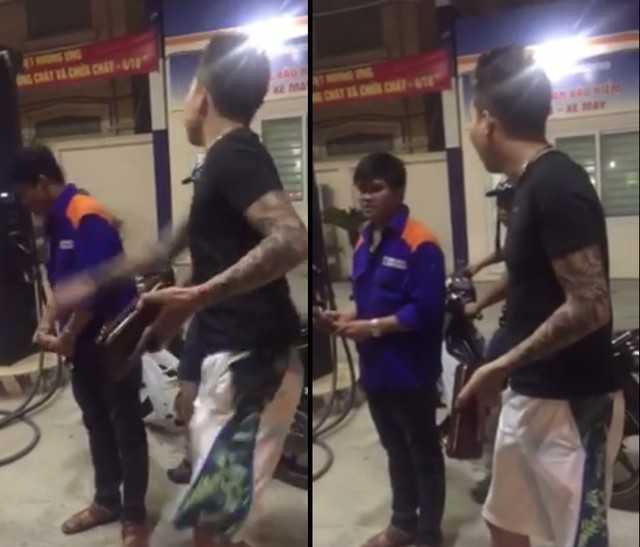 Hình ảnh cắt từ clip vụ việc nhân viên cửa hàng xăng 117 Trần Cung bị ăn bạt tai